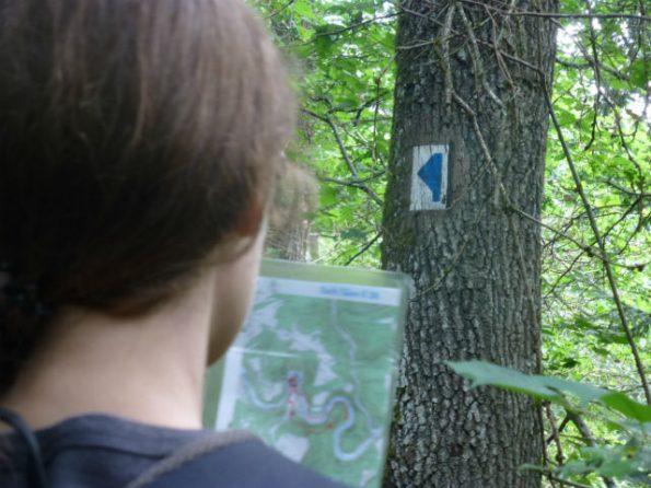 Au premier plan, ma sœur tient une carte d'un circuit auto-pédestre, à l'arrière-plan, le balisage bleu et blanc se détache sur un arbre