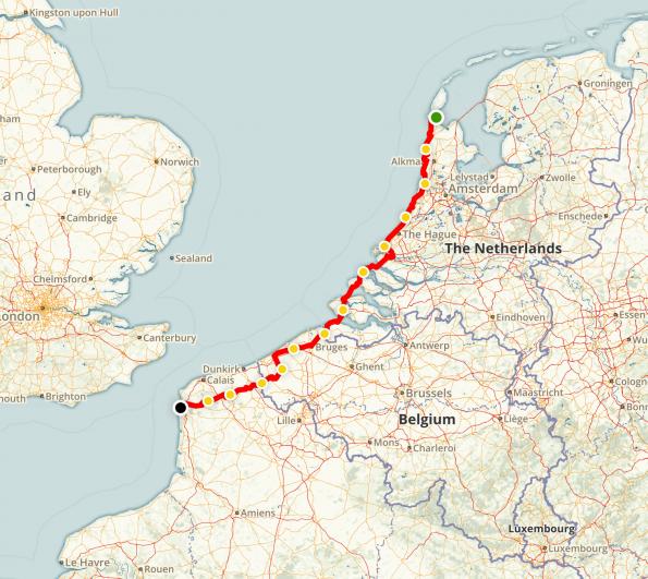 Le tracé de la LF1-Noordzeeroute en 2002
