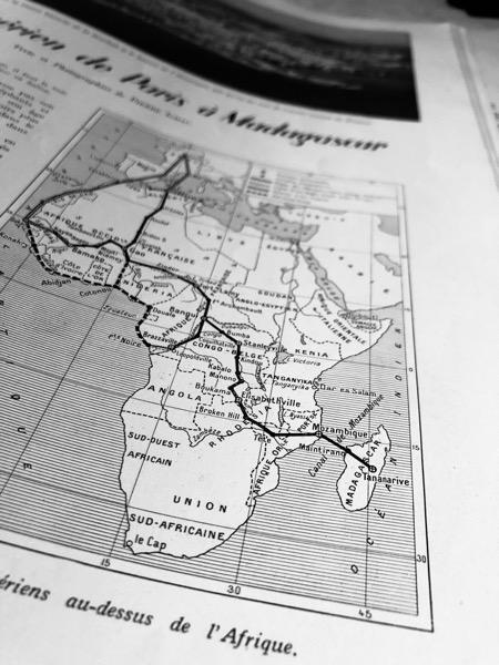 Le trajet de Pierre Ichac de Paris à Madagascar en 1939