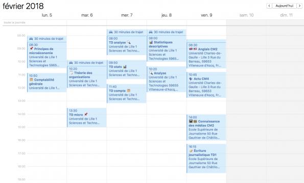 Mon emploi du temps: une semaine type à l'université
