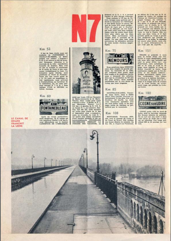 un article descriptif d'époque sur la Nationale 7 en 1963