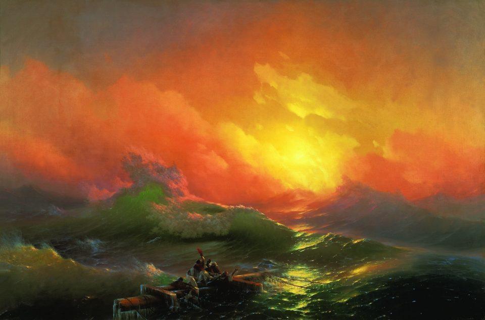Portraits, paysages ou natures mortes, les Russes comptent de grands artistes dans leur rang, comme ici Ivan Aïvazovski et son tableau « La Neuvième Vague » CC Wikimédia https://commons.wikimedia.org/wiki/File:Aivazovsky,_Ivan_-_The_Ninth_Wave.jpg