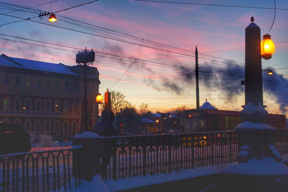 Arrivée à la fin du canal Griboïedov, la nuit est tombée ©Clara Delcroix