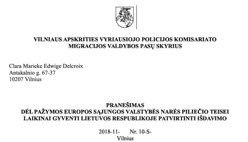 En-tête du certificat de droit de séjour temporaire en Lituanie © Clara Delcroix
